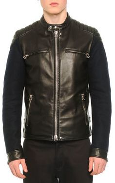 Lanvin Leather Contrast-Sleeve Moto-Style Jacket