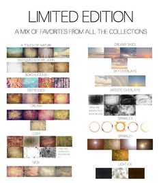 Limited Edition Collection. A mix of favorites from all of the Collections. Available for a limited time      Textures, Overlays, and Presets  www.ginnyhauperttextures.com