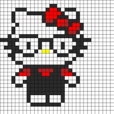 Nerd Hello Kitty Perler Bead Pattern | Bead Sprites | Characters Fuse Bead Patterns