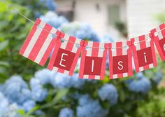 Classic colors! MINI Banner Coral & White Stripe   Baby Shower by TheOhSoSweetLife