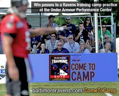 RE-PIN this by noon EST on Fri, July 19 for a chance to WIN 4 tickets to a #Ravens training camp practice held at the Under Armour Performance Center! More ways to win passes here: www.baltimoreravens.com/ComeToCamp