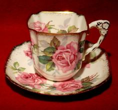 "Royal Stafford Bone China ""Berkeley Rose"" Square Tea Cup Saucer Gold Trim 