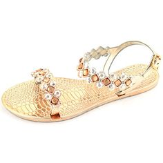Liliana Womens Open Toes and Rhinestone Details with Ankle Strap Flat Sandals  8 ** Want to know more, click on the image.(This is an Amazon affiliate link and I receive a commission for the sales)
