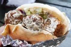 The falafel sandwich is the peanut butter  and jelly of the Arab world, it's a staple! You can get really creative and add your own veggie's to it, or slice some falafel and throw it on a salad for some protein. In most restaurants and eateries, falafel is usually fried, but because of it's gained popularity, you may be able to find baked falafel. It's great for hosting as well, if you serve it loose with various dips and sides, and it's vegetarian so no one will be left out from the…