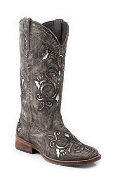 """Roper gives you effortless western fashion without breaking the bank! This women's Roper cowgirl boot features a distressed leather foot with shiny silver leather inlays under a matching 12"""" leather s"""