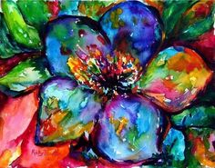 abstract art paintings flowers | Art: Vibrant Abstract Flower - sold by Artist Ulrike 'Ricky' Martin