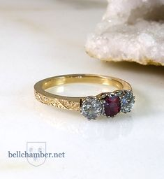 Antique platinum ruby and diamond setting remade with yellow gold Bellchamber ring with engraving. All hand made. Diamond Settings, Custom Design, Wedding Rings, Engagement Rings, Antiques, Yellow, Gold, Handmade, Jewelry