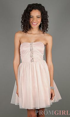 Short Strapless Semi-Formal Dress by Jump 307 at PromGirl.com