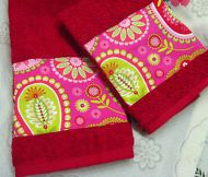 HAND TOWELS GYPSY Michael Miller fabric 2 Custom DECORATED RED CANNON
