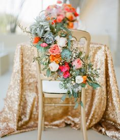 floral chair and sequin tablecloth Chic Wedding, Wedding Trends, Wedding Designs, Wedding Styles, Wedding Day, Wedding Blog, Wedding Vendors, Elegant Wedding, Wedding Ceremony