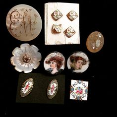Finding more lovely buttons in 'the big sort out' - mother of pearl, enamel, portrait #vintage #buttons #collection #sewing #vintagefashion #buttoncollector #button #antique