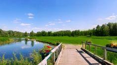 Preview wallpaper bridge, wooden, handrail, river, meadows, glades, hills 1920x1080