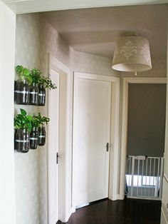 Mason Jar Planters. Great Idea for an herb garden that doesn't take up counter space!