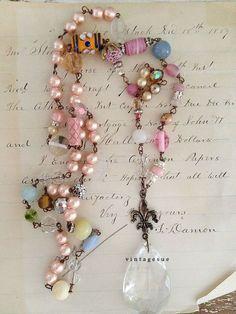 Idea peeking fallOOAK upcycled beaded necklace boho shabby by Arey Old Jewelry, Jewelry Crafts, Jewelry Art, Jewelery, Vintage Jewelry, Jewelry Design, Jewelry Making, Jewelry Ideas, Artisan Jewelry