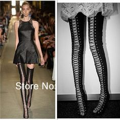 ribbon lace up thigh high boots, open toe cut out strappy ...