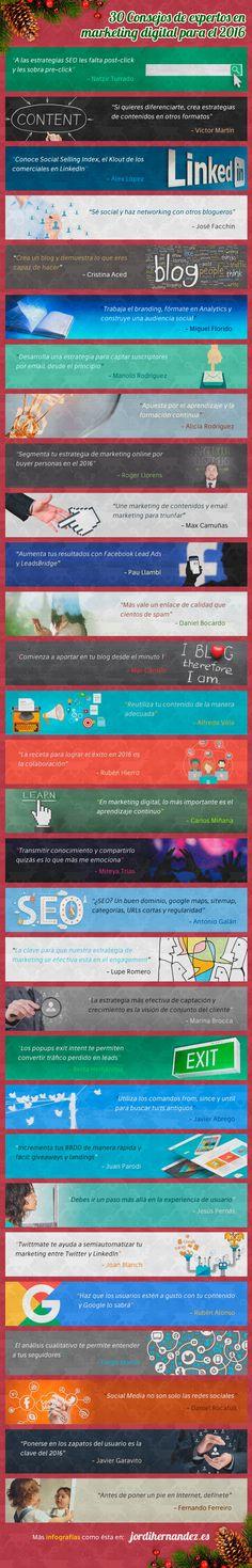30 consejos de expertos sobre Marketing Digital #infografia #infographic #marketing