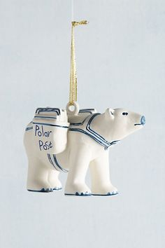 Anthropologie EU Polar Bear Express Ornament