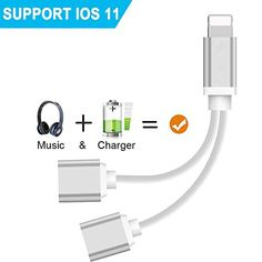 2 in 1 Lightning Adapter for iphone x/ 8/8 Plus 7/7Plus/ipod/ipad. Lightning to Charger and Aux Earphones Stereo Jack ,Dual Lightning Headphone Audio+Charge Adapter(Support iOS 10.3/11 System)(Silver) #Lightning #Adapter #iphone #Plus #/Plus/ipod/ipad. #Charger #Earphones #Stereo #Jack #,Dual #Headphone #Audio+Charge #Adapter(Support #System)(Silver)