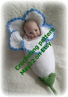 Crochet baby FLOWER cocoon pattern PDF Instant download