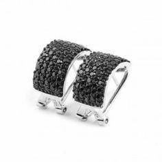 Pendientes de acero con circonitas negras de cierre omega lineargent/Pendientes de acero http://relojesplatayacero.com/