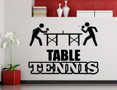 Table Tennis Logo Wall Sticker Sports Ping Pong Vinyl Decal Home Interior Decoration Waterproof High Quality Mural (11te) by AwesomezzDesigns on Etsy https://www.etsy.com/listing/248572371/table-tennis-logo-wall-sticker-sports