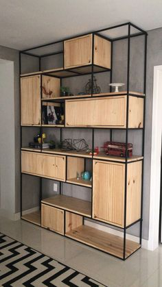 Modern Industrial Iron and Wood Shelving Decor Ideas Combining modern design with industrial decor. Over twenty iron and wood industrial shelving designs for you to feed your design ideas. Metal Furniture, Home Decor Furniture, Living Room Furniture, Furniture Design, Furniture Ideas, Office Furniture, Furniture Makeover, Outdoor Furniture, Modular Furniture
