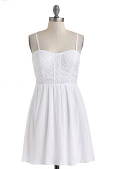 All You Need Is Lovely Dress - White, Solid, Crochet, Casual, A-line, Spaghetti Straps, Sweetheart, Graduation $54