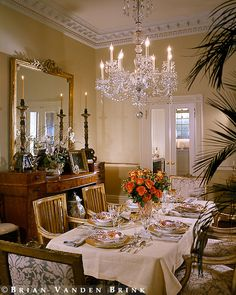 Beautiful crystal chandelier in dining room
