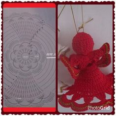 Fatto: Crochet Christmas Ornaments, Holiday Crochet, Angel Ornaments, Christmas Items, Christmas Angels, Christmas Crafts, Christmas Decorations, Xmas, Crochet Angels