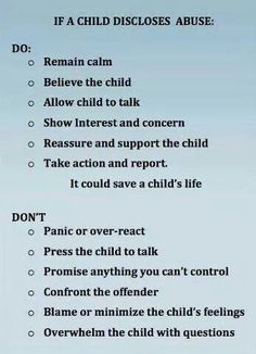 When a child discloses