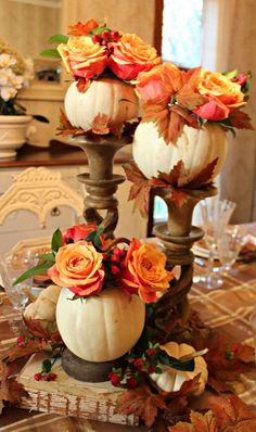 #Thanksgiving table centerpiece - Liked @ www.homescapes-sd... Carlsbad CA home stager (760) 224-5025 #Falldecor