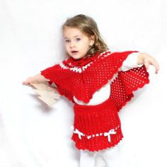 "Unique cape and skirt for little girls made by "" Punedore Nena"". It is made from yarn colored in red and white and is very soft and comfortable . By wearing it your girl will look like little red riding hood and feel the adventure. Notification: Other items on the photo are not for sale."