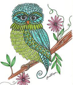 Owl Handmade Original Art PrintOwlsOwl Art8x10 by TheOwlCollection, $20.00