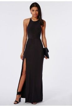 Slinky Side Split Maxi Dress Black