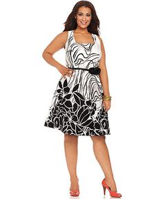 Spense Plus Size Dress, Sleeveless Printed Belted A-Line - Plus Size Dresses - Plus Sizes - Macy's