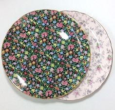 Pair Collector's Tuscan/Royal Tuscan Bone China Plates - Multicolor Pink Flowers