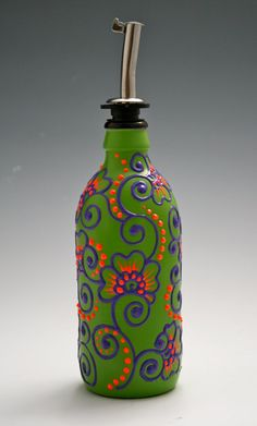 Hand Painted Glass bottle Olive Oil Pourer, Candy Apple Green, Purple and Orange, Flowers and Swirls, Olive Oil Dispenser