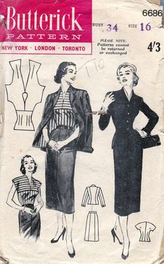 50s Vintage Sewing Pattern Butterick 6686 by allthepreciousthings, $18.00