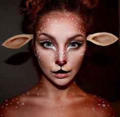 speckles, spots + nose dots for this cute deer makeup look for Halloween Halloween Contacts, Halloween Looks, Halloween Face Makeup, Halloween Costumes, Makeup Clown, Sfx Makeup, Deer Costume Makeup, Bambi Makeup, Faun Makeup