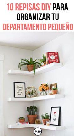 Hoy te damos varias formas sencillas de organizar todo tu departamento pequeño sin que luzca amonto Decoration Tumblr, Diy Home Decor, Room Decor, Decor Crafts, Diy Crafts, Loft Interiors, Diy Holz, Diy Candles, Diy Wood Projects