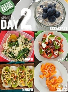 Today's breakfast recipe, overnight oats, is a great one to master because it's simple, filling, and healthy. The Napa cabbage wraps with chicken, mango, avocado, and tomato taste awesome and use leftover chicken to keep things quick. Click here for Day 2 recipes and instructions.