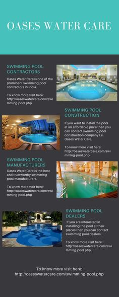 Today, most of the people wants to install swimming pool at their homes, offices and malls etc. They install pools to enjoy and feel relax. If you want to install pools then you can contact swimming pool contractors i.e. Oases Water Care.  To know more visit here: http://oaseswatercare.com/swimming-pool.php
