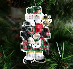 Highland Santa Cross Stitched Christmas by SantasStitchery on Etsy