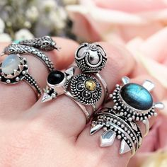 ∘∔∘∔♰  Light & Dark mix it up!   ♰∔∘∔∘ Shop ⇢⇢ www.shopdixi.com // shop dixi // boho // bohemian // gothic // grunge // witchy // witchy // boho jewels // boho chic  // bohemian jewellery // bohemian jewelry // silver rings // sterling silver // gypsy jewels // rings // stacking rings // moon child // dark // mystic