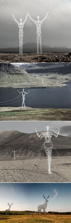 """Icelandic Powerlines--SO cool! Why can't we do this in the US?   Iceland, you are Officially a """"Bitchin' Country"""" This is bad-ass looking!!!"""