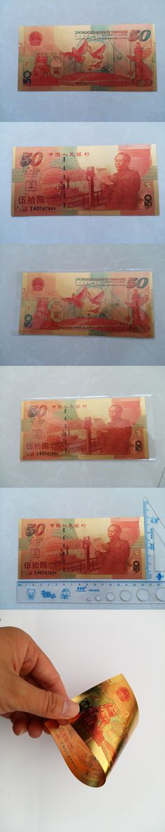 2015 Gold Banknote 50 Bill World Paper Money Collections Chinese Souvenir Mao Zedong Vintage Home Decor  Make Money Selling Gift $10
