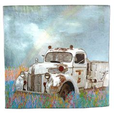 Carol Watkins, Young at Heart. Not my ususal style, but this touches my heart. Landscape Art Quilts, Old Trucks, Vintage Trucks, Watercolor Art, Watercolour Paintings, Applique Quilts, Fabric Art, Quilting Designs, Textile Art