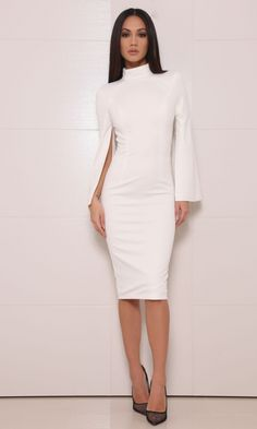 Moda Glam Boutique - Abyss by Abby 'Suncoo' Split Sleeve Dress-White