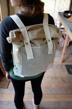 Canvas Backpack - Roll Top - Stripes, Pockets, Khaki Canvas - Organic Canvas $82