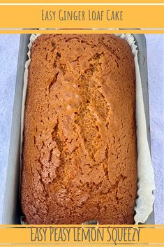 An Easy Ginger Loaf Cake, topped with a light lemon icing! It's so simple and perfect with a cuppa. That warming hit of ginger is so lovely Easy Loaf Cake Recipe, Easy Cake Recipes, Sweet Recipes, Baking Recipes, Dessert Recipes, Desserts, Easy Sponge Cake Recipe, Bake Sale Recipes, Ginger Bread Loaf